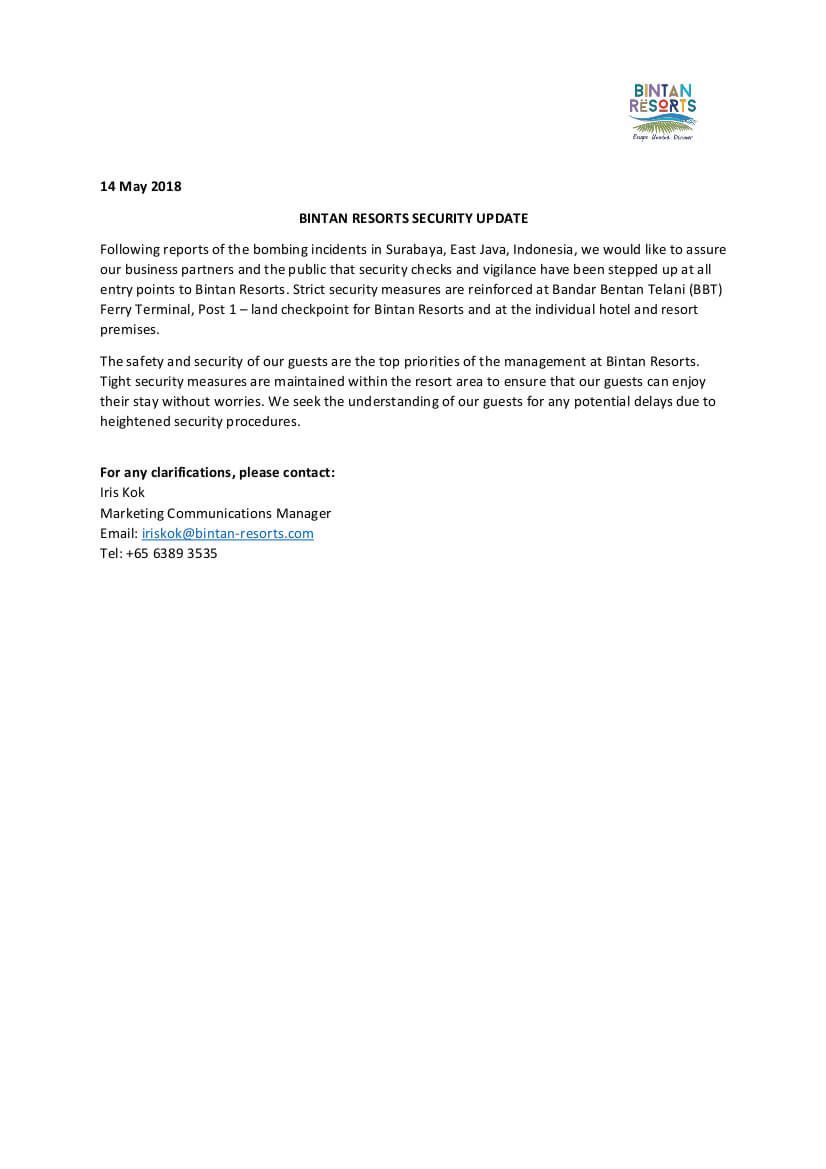 Bintan Resorts Statement on Surabaya Incidents